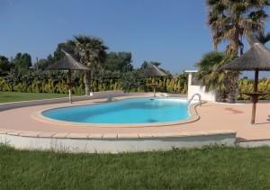contour piscine en résine et pierre